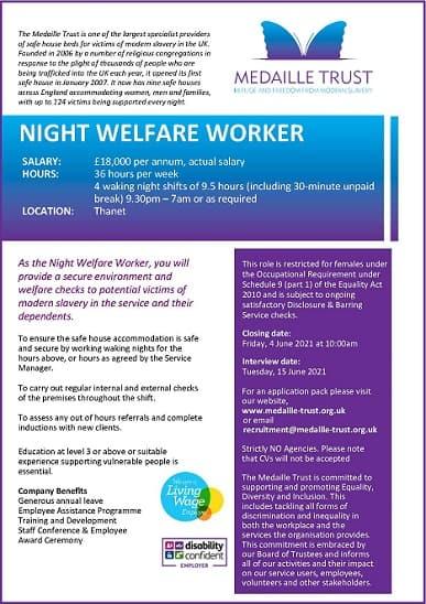 2021.05 – NIGHT WELFARE WORKER (COASTAL)